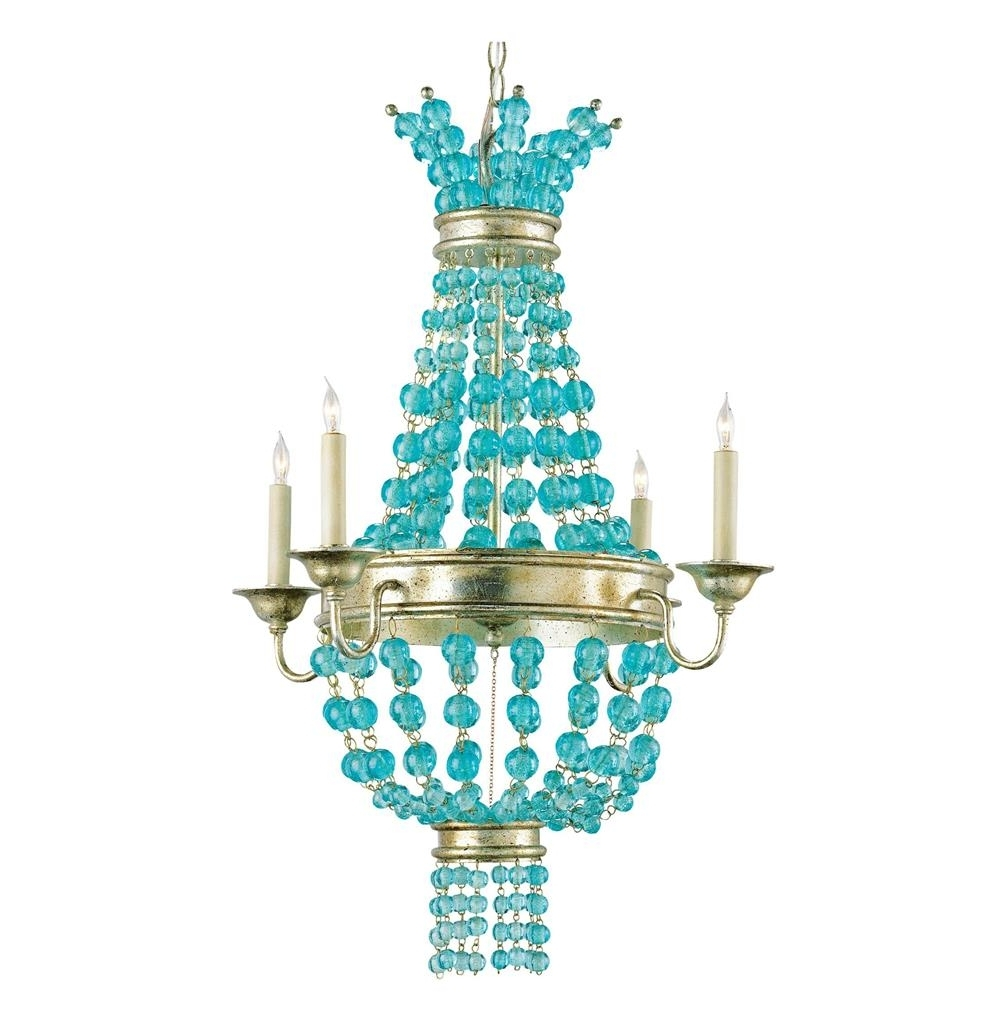 Turquoise Beaded Chandelier Light Fixtures Pertaining To Most Popular Lea Aqua Blue Glass Bead Champagne Leaf 4 Light Chandelier (View 11 of 15)
