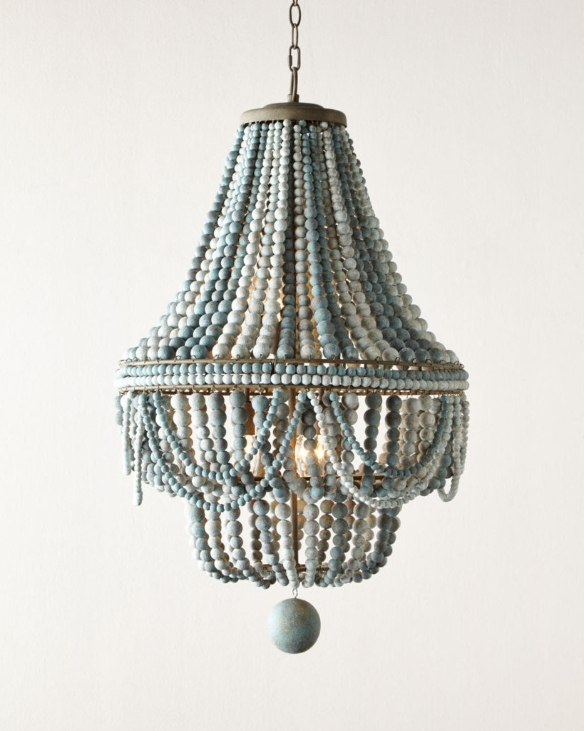 Turquoise Beads Six Light Chandeliers Intended For Famous Malibu Beaded 6 Light Chandelier (View 4 of 15)
