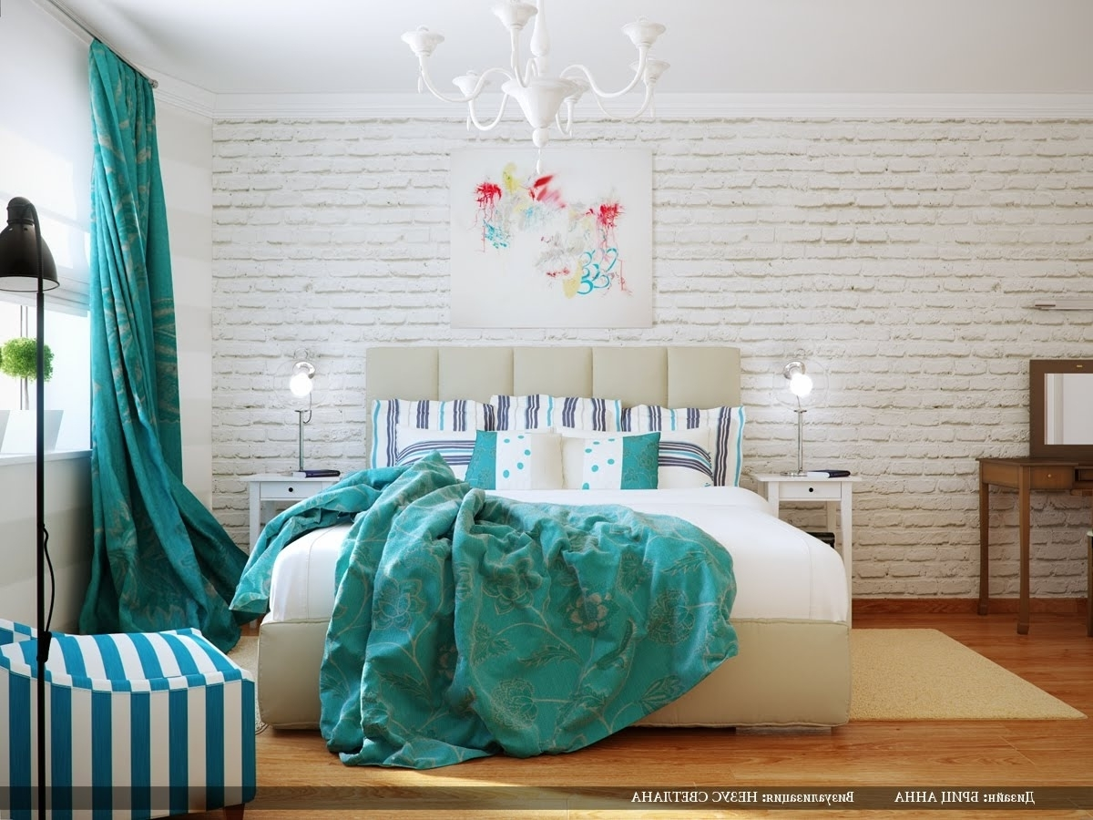 Turquoise Bedroom Chandeliers Intended For Most Popular Delightful Turquoise Bedroom Interior And Decorating (View 2 of 15)