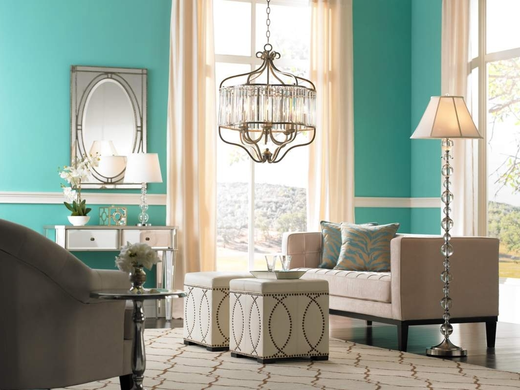 Turquoise Bedroom Chandeliers Within Trendy Living Room : Modern Chandelier Floor Lamps Turquoise Living Room (View 12 of 15)