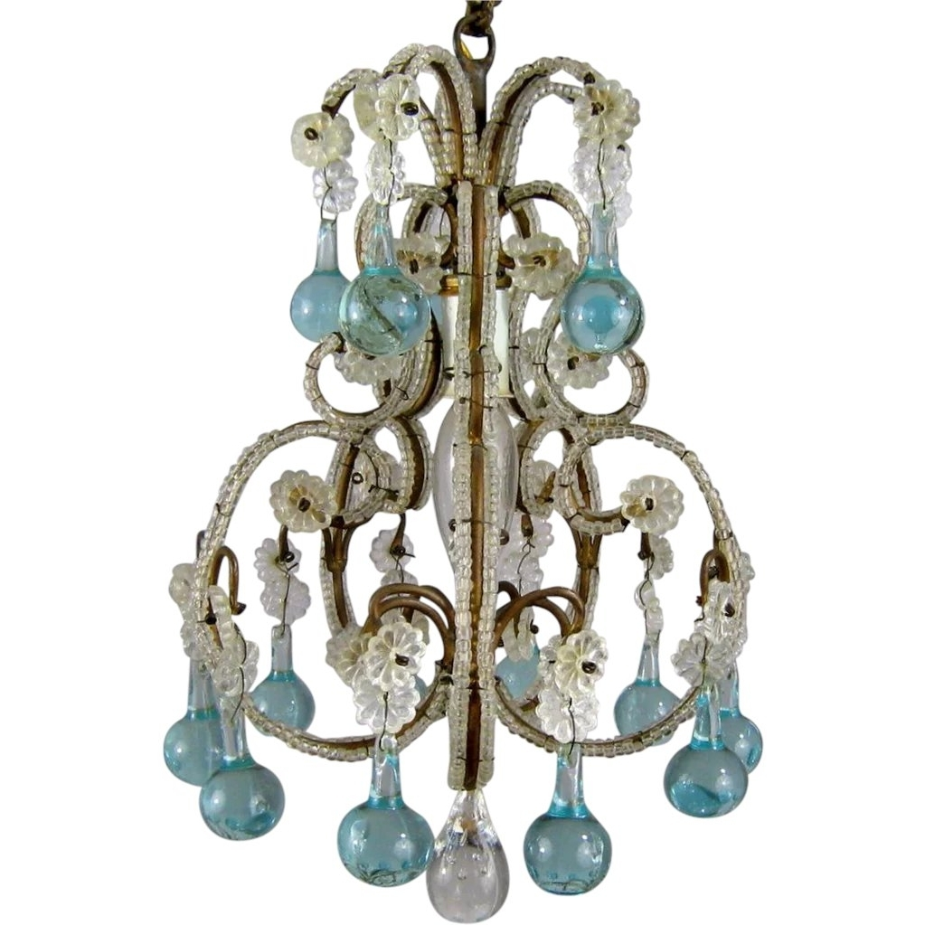 Turquoise Birdcage Chandeliers For Most Popular Petite Vintage Beaded Birdcage Chandelier Aqua Blue Prisms Powder (View 9 of 15)