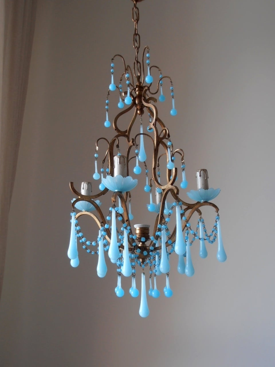 Turquoise Birdcage Chandeliers Pertaining To Current Italian Birdcage Chandelier With Blue Murano Opaline – Lorella Dia (View 5 of 15)