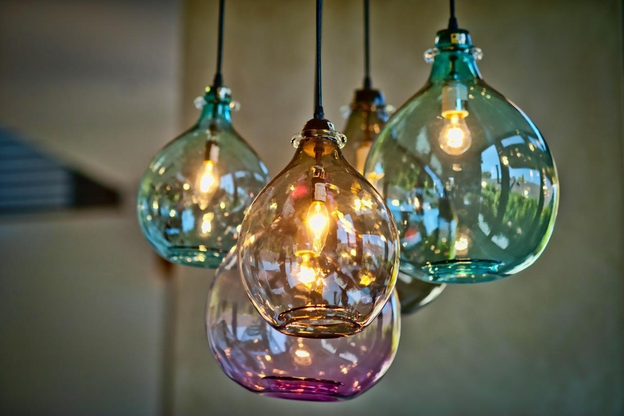 Turquoise Blown Glass Chandeliers Inside Most Up To Date Blown Glass Kitchen Lighting • Kitchen Lighting Design (View 10 of 15)