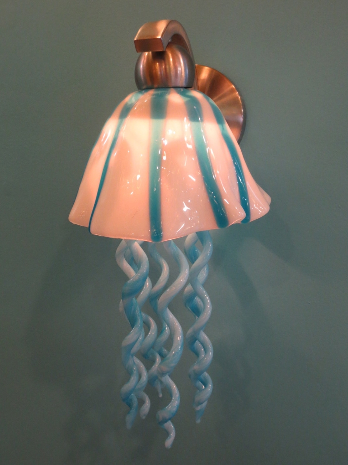 Turquoise Blown Glass Chandeliers Pertaining To Most Current Blown Glass Lighting – Glass Lighting – Jellyfish Sconce – Turquoise (View 12 of 15)