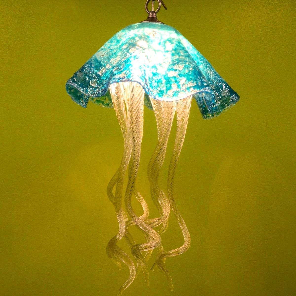 Turquoise Blown Glass Chandeliers Throughout Widely Used Buy A Hand Made Jellyfish Pendant Light – Turquoise Jellyfish (View 14 of 15)