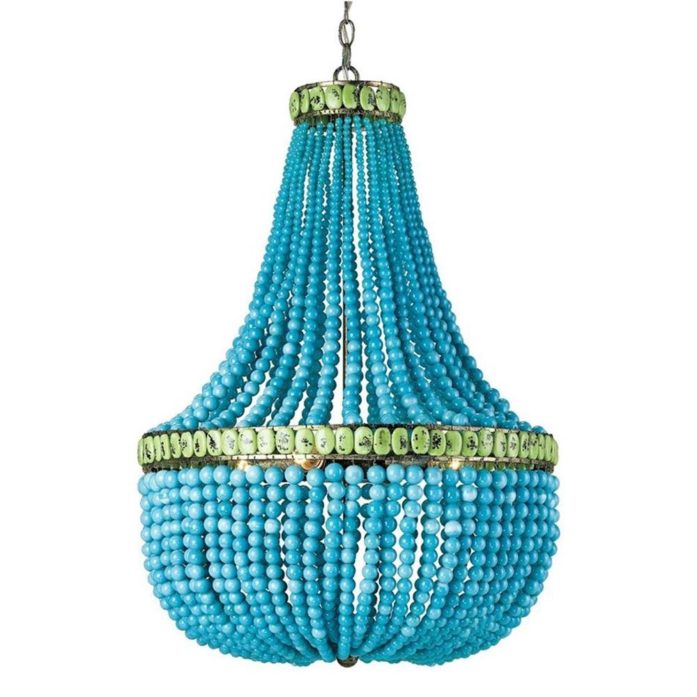Turquoise Blue Beaded Chandeliers Inside Current Turquoise Blue Beaded Coastal Beach 3 Light Chandelier (View 3 of 15)