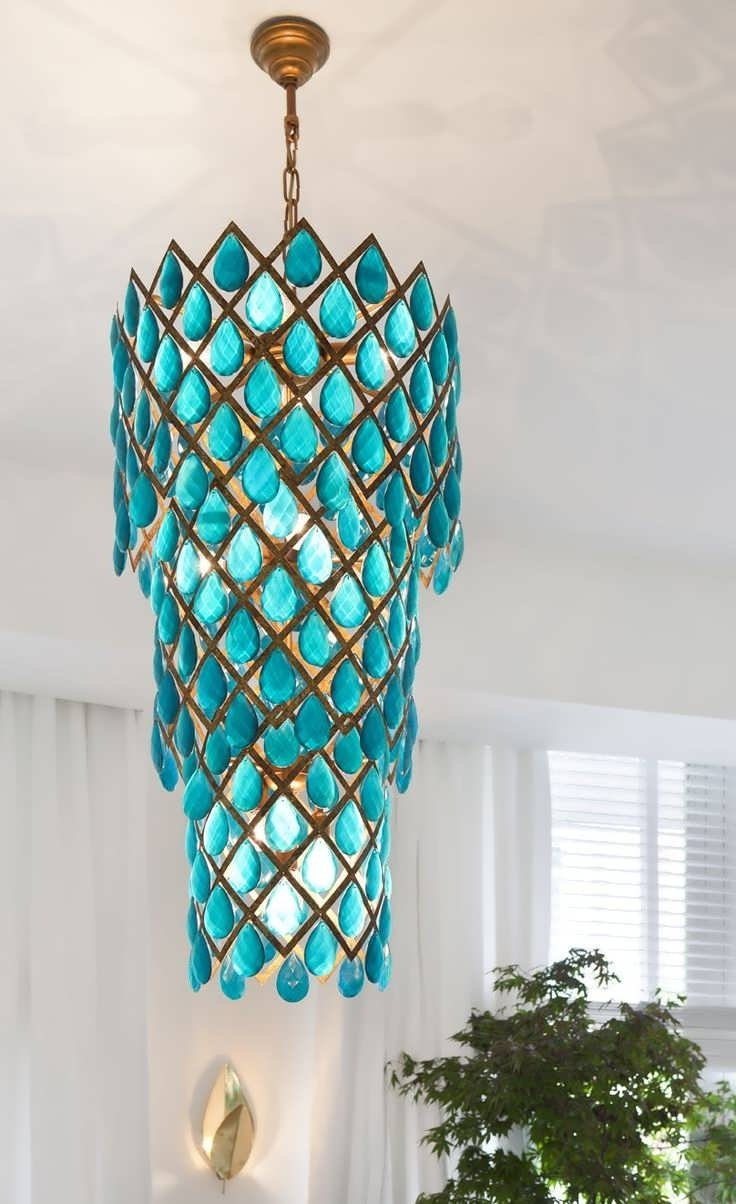 Turquoise Blue Beaded Chandeliers Inside Well Liked Chandelier : Chrome Chandelier Chandelier Winch System Round Wood (View 12 of 15)