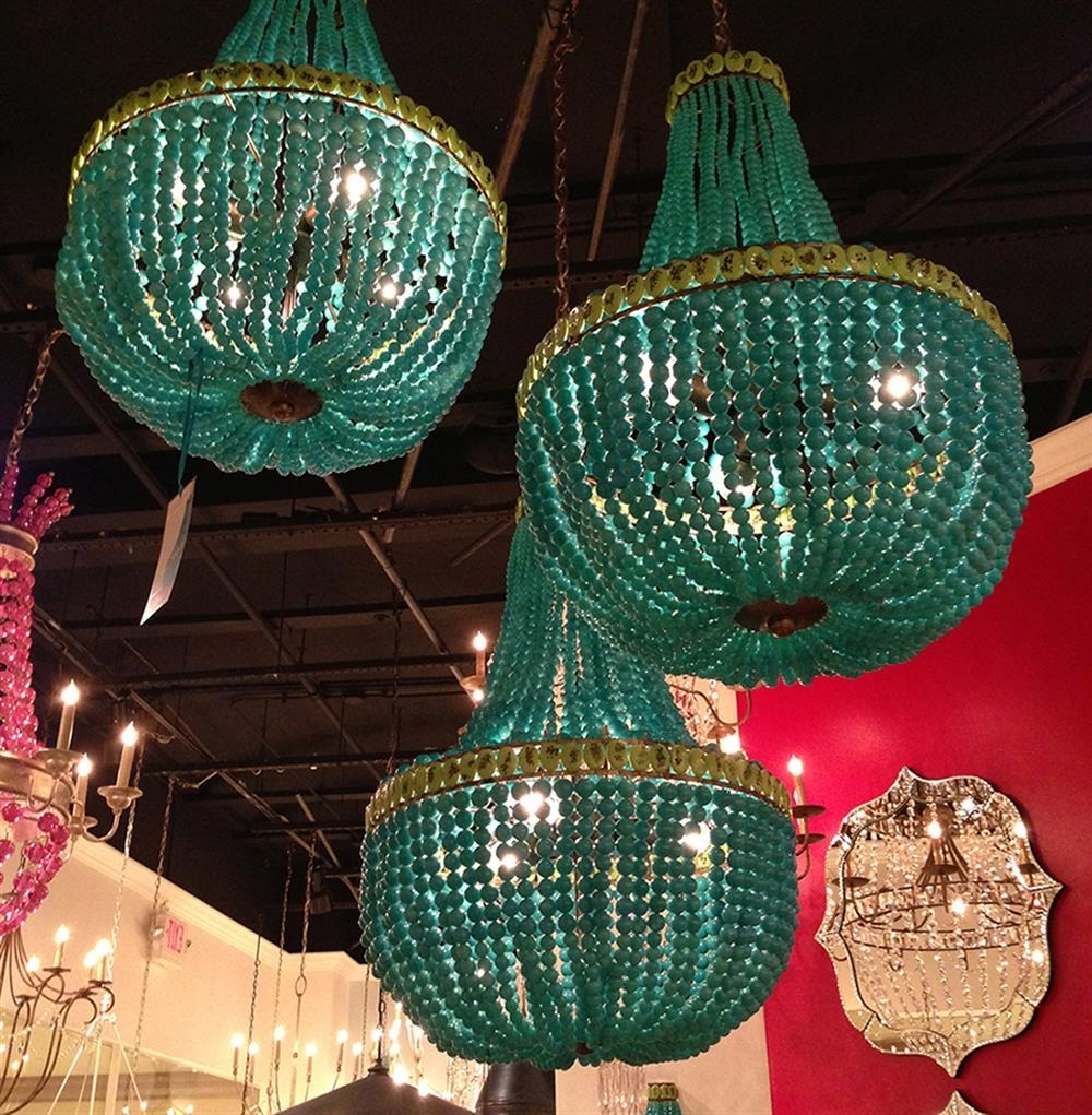 Turquoise Blue Beaded Coastal Beach 3 Light Chandelier (View 8 of 15)