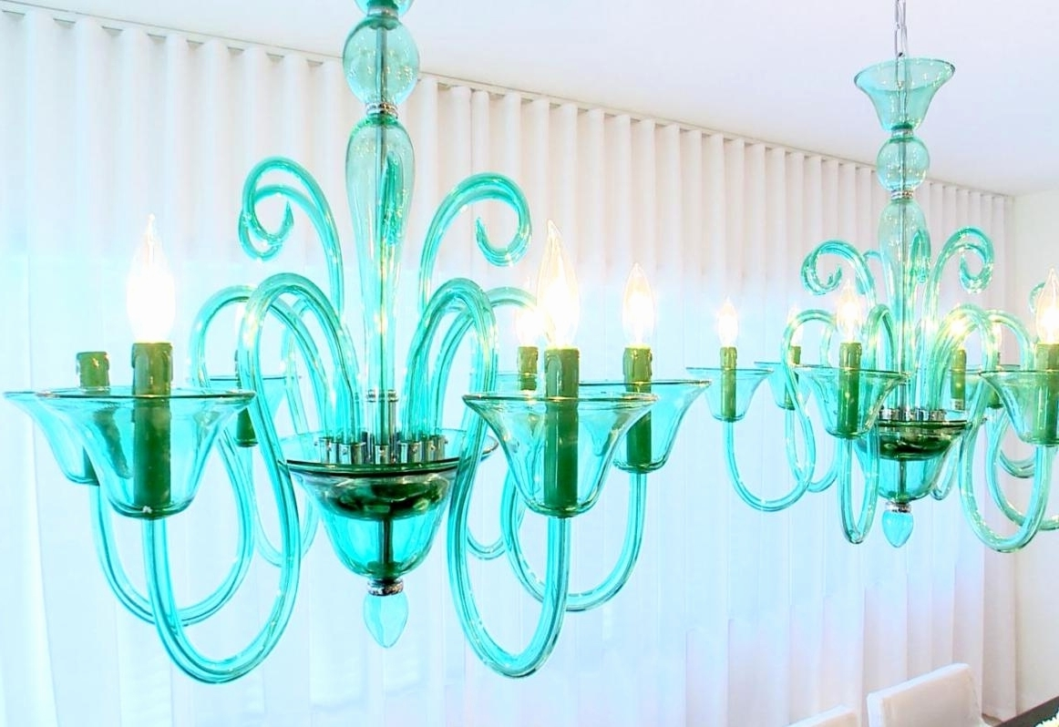 Turquoise Blue Chandeliers For Most Popular Turquoise Blue Glass Chandelier – Chandelier Designs (View 14 of 15)
