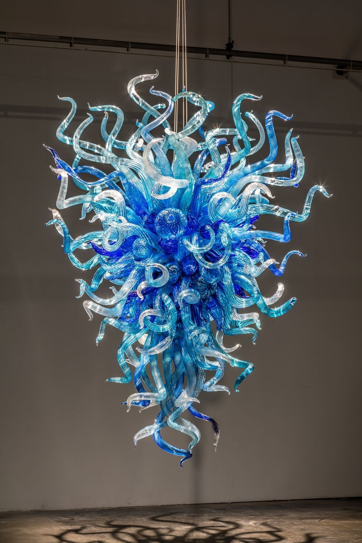 Turquoise Blue Glass Chandeliers Throughout 2017 Chandeliers Design : Wonderful Chihuly Chandelier Hanging Blue (View 13 of 15)