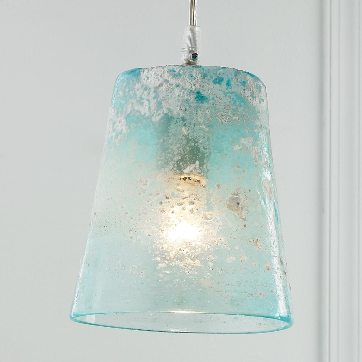Turquoise Bubble Chandeliers Pertaining To Well Known Sand Frost Glass Pendant Light (View 14 of 15)