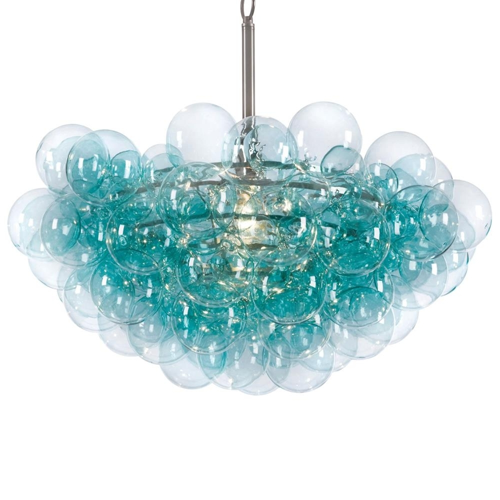 Turquoise Chandelier Lights Intended For Popular Light : Sima Modern Floating Glass Bubbles Aqua Chandelier Bubble (View 10 of 15)