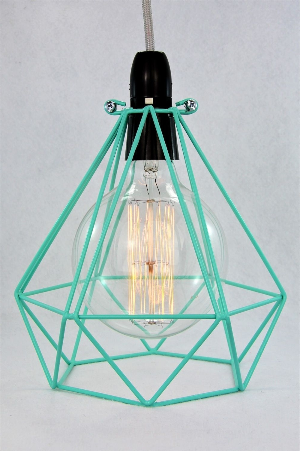 Turquoise Gem Chandelier Lamps With Most Current Diamond Wire Lamp Cage Pendant Cloth Cord Trouble Light Chandelier (View 13 of 15)