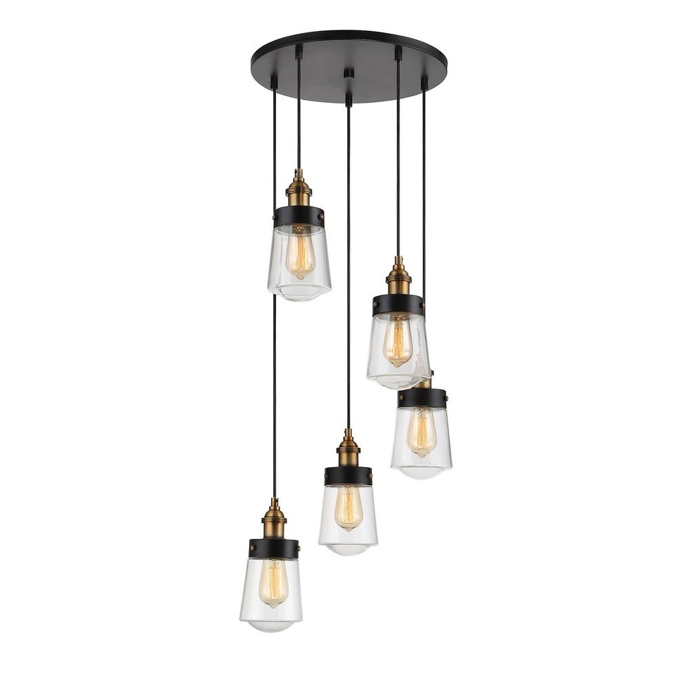 Vintage Black Chandelier Inside Preferred Filament Design 5 Light Vintage Black With Warm Brass Multi Point (View 15 of 15)