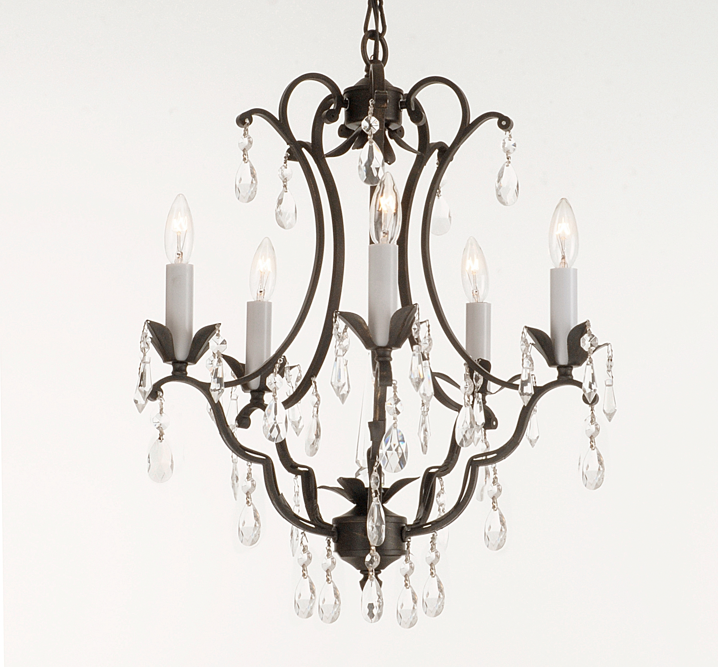 Vintage Black Chandelier with Fashionable Light : Furniture Vintage Look Modern Black Wrought Iron Chandeliers