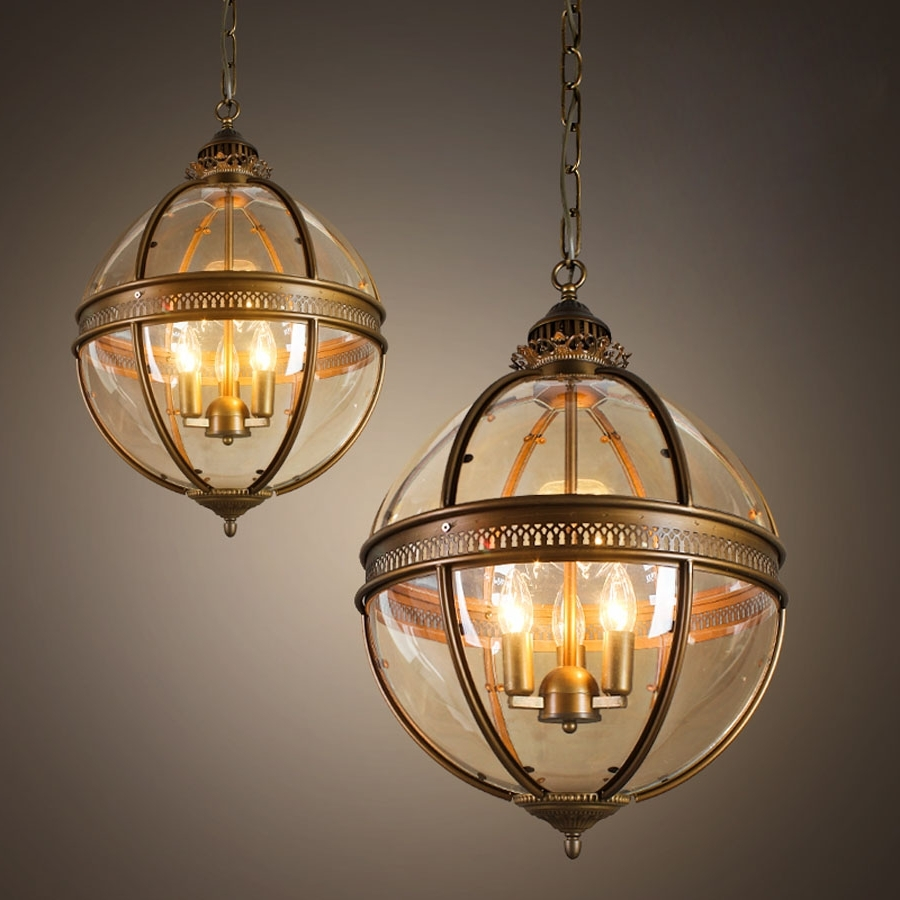Vintage Chandelier with regard to Newest Vintage Loft Globe Pendant Light Wrought Iron Glass Lampshade