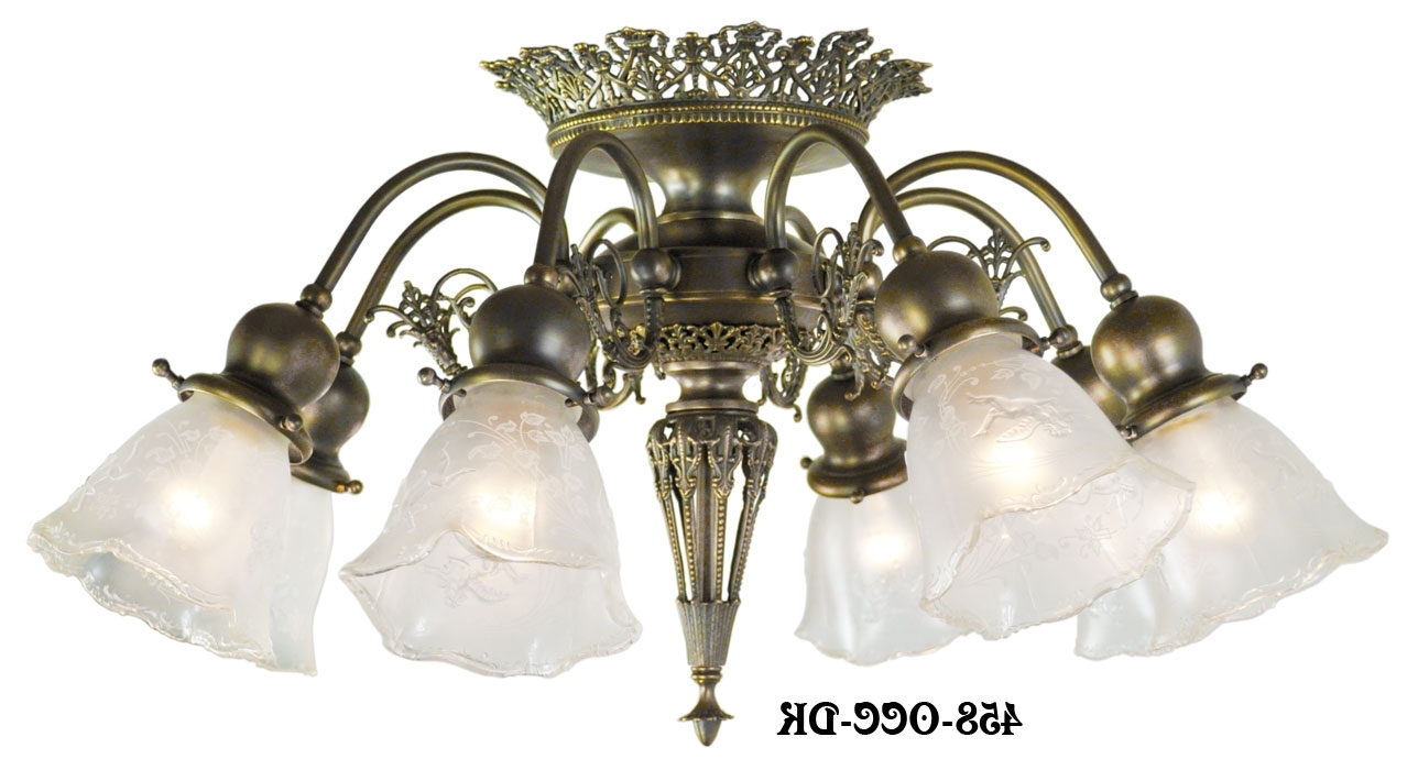 Vintage Hardware & Lighting - 8 Light Pierced Brass Short Ceiling inside Latest Short Chandelier