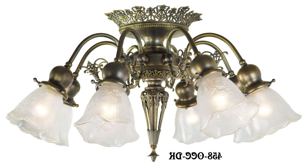 Vintage Hardware & Lighting – 8 Light Pierced Brass Short Ceiling Inside Latest Short Chandelier (View 13 of 15)
