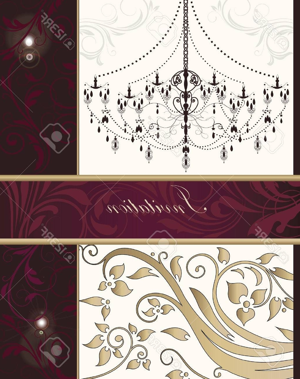 Vintage Invitation Card With Ornate Elegant Retro Abstract Floral pertaining to Well known Fuschia Chandelier