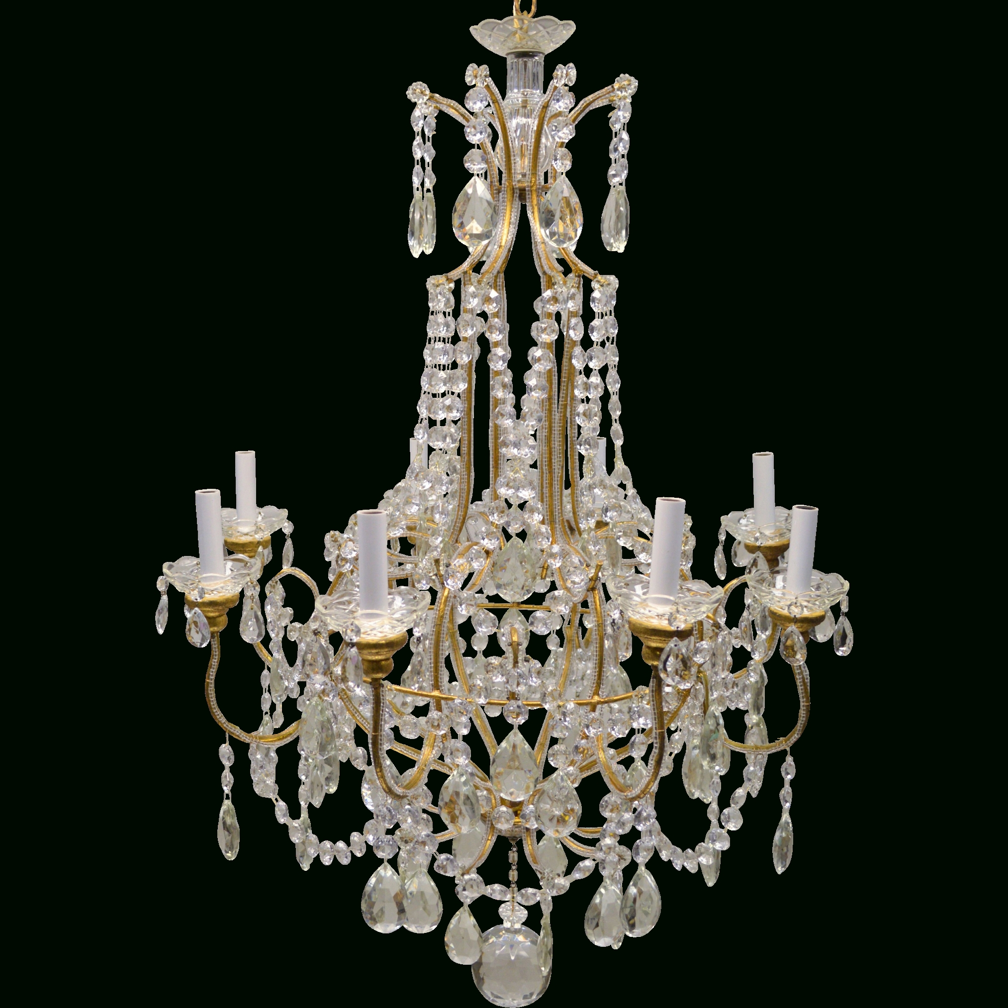 Vintage Italian Chandelier With Most Up To Date Vintage Italian Gilded Macaroni Beaded Crystal Prism Chandelier –  (View 14 of 15)