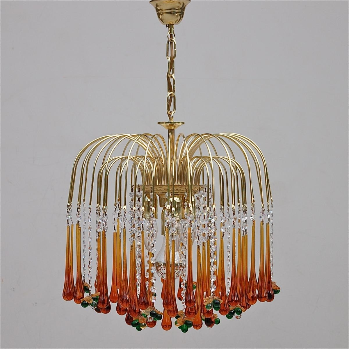Vintage Teardrop And Fruit Murano Glass Chandelier For Sale At Pamono Pertaining To Well Known Glass Chandelier (View 3 of 15)