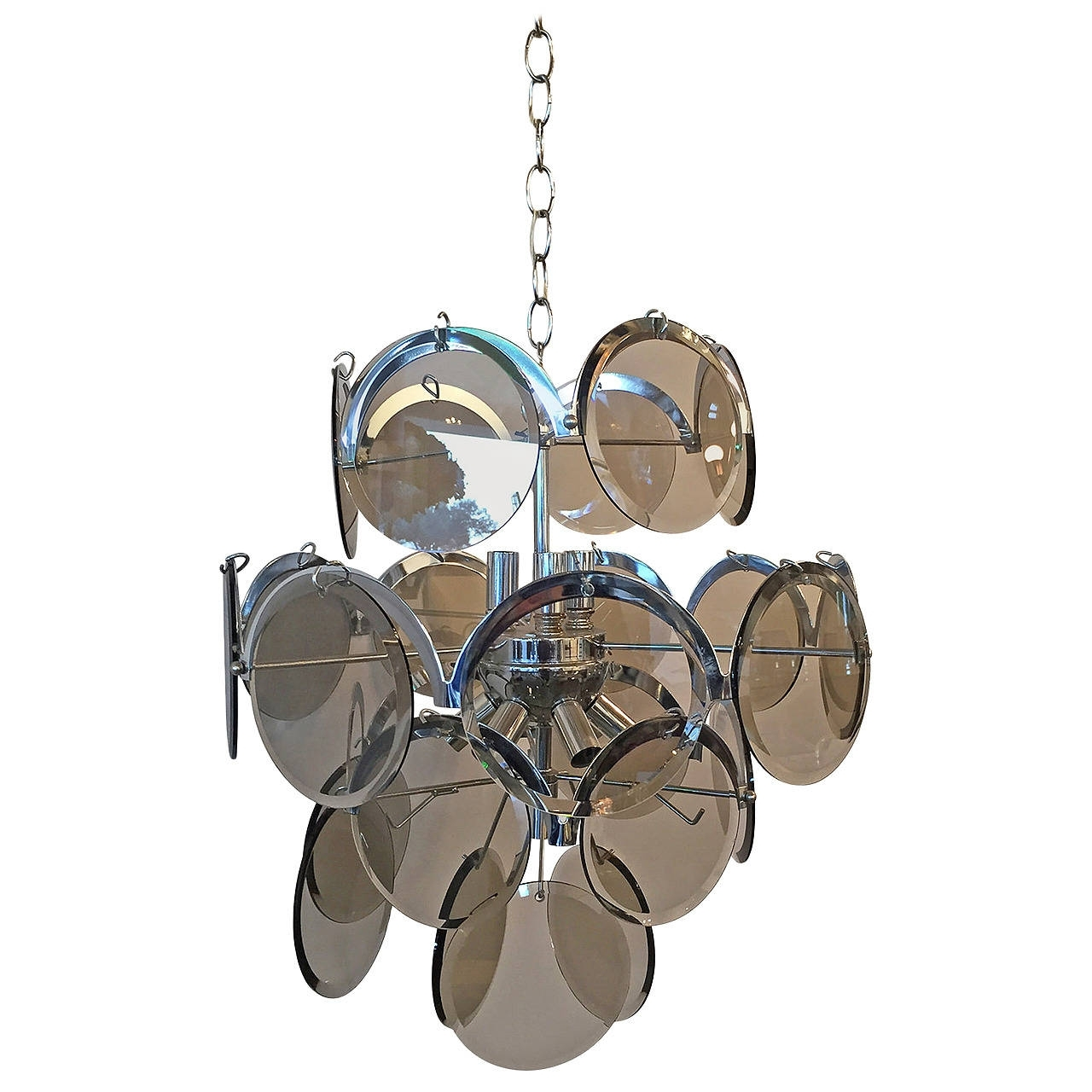 Vistosi Italian Mid Century Modern Smoked Glass Beveled Disc And Throughout Most Up To Date Smoked Glass Chandelier (View 10 of 15)