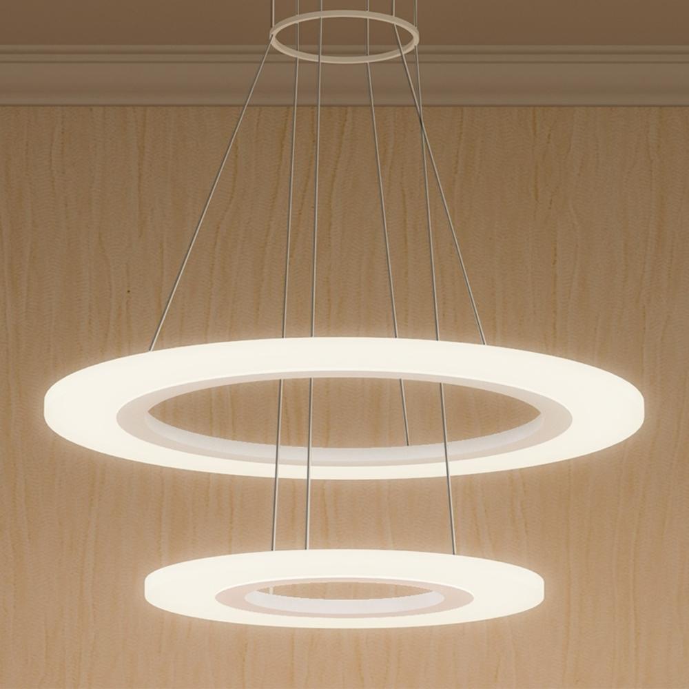 Vmc32300Sw Led Chandelier Adjustable Hanging Light Modern Two-Tier regarding Current Modern Led Chandelier
