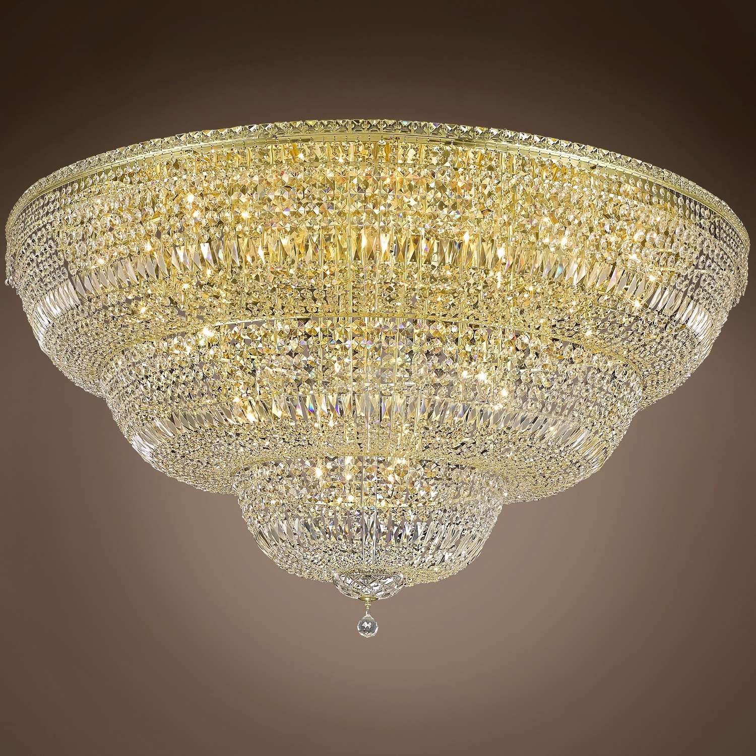 """Wall Mount Crystal Chandeliers Inside Well Known Joshua Marshal 701266 Invisible Design 48 Light 60"""" Flush Mount From (View 12 of 15)"""