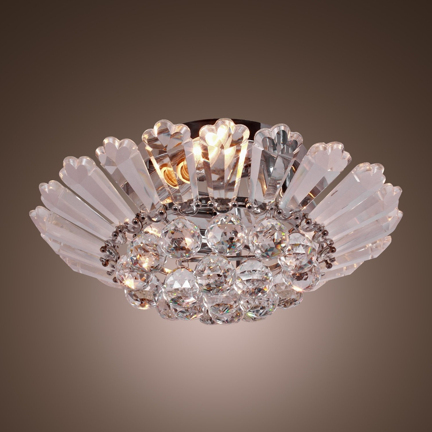 Wall Mount Crystal Chandeliers Pertaining To Most Popular Lightinthebox Modern Semi – Flush Mount In Crystal Feature, Home (View 9 of 15)
