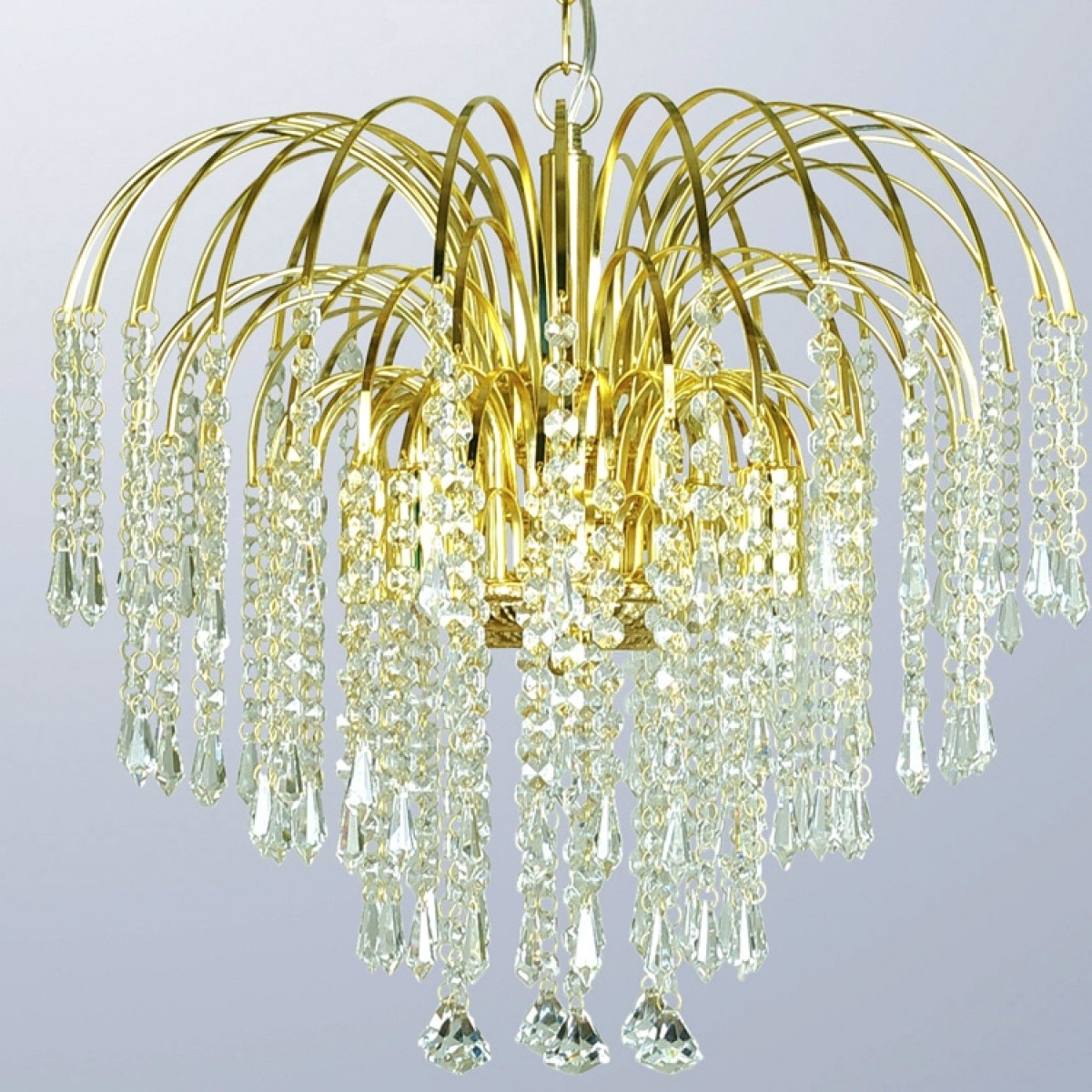 Waterfall Chandeliers For Well Known Waterfall Four Light Gold Crystal Chandelier (View 11 of 15)