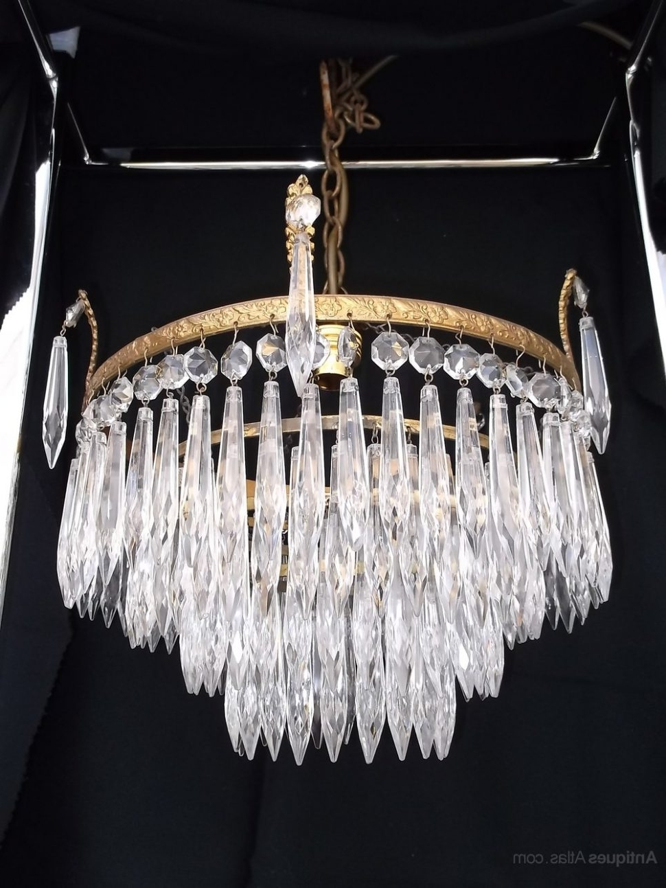 Waterfall Chandeliers Within Best And Newest Chandeliers Design : Awesome Antique Crystal Chandelier Chandeliers (View 12 of 15)