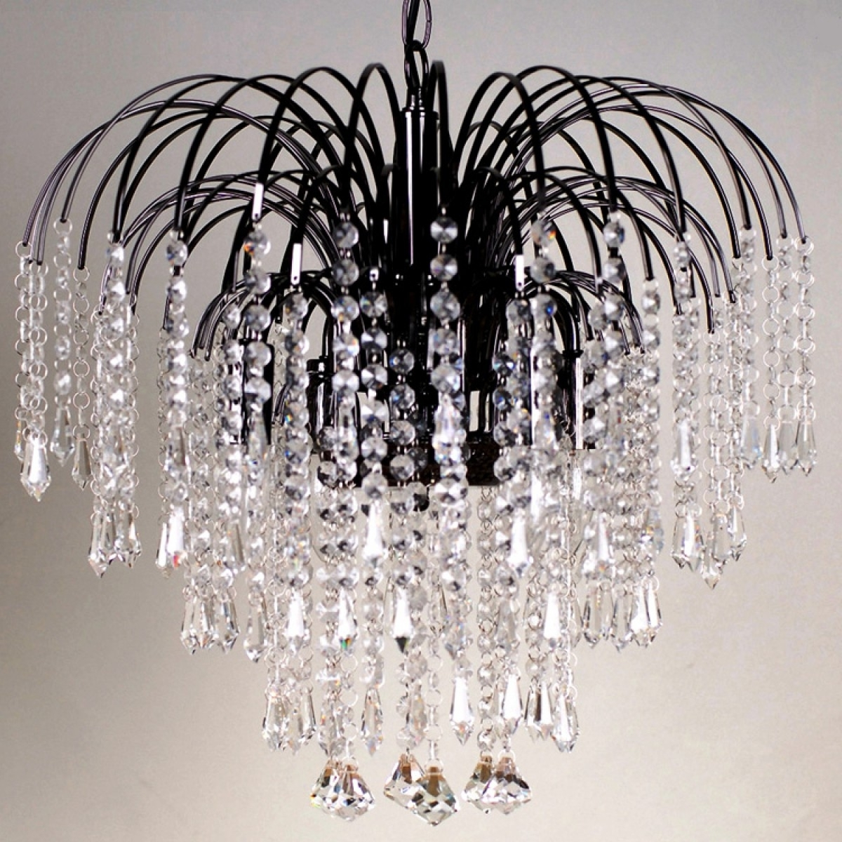 Waterfall Crystal Chandelier Pertaining To Popular Four Light Black Crystal Chandelier (View 11 of 15)