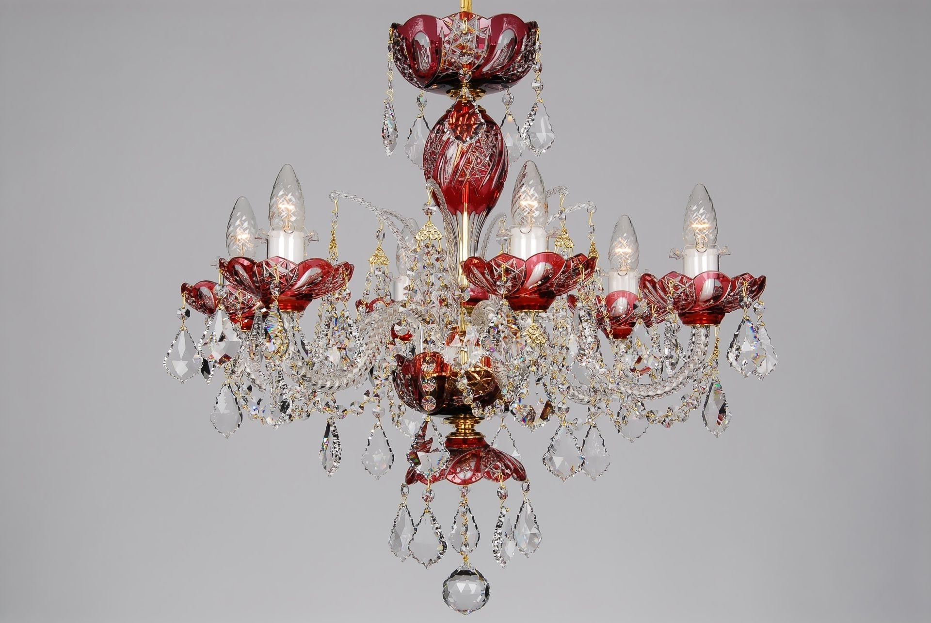 Well Known A Small Red Crystal Chandelier Decorated With Swarovski Trimmings With Regard To Red Chandeliers (View 13 of 15)
