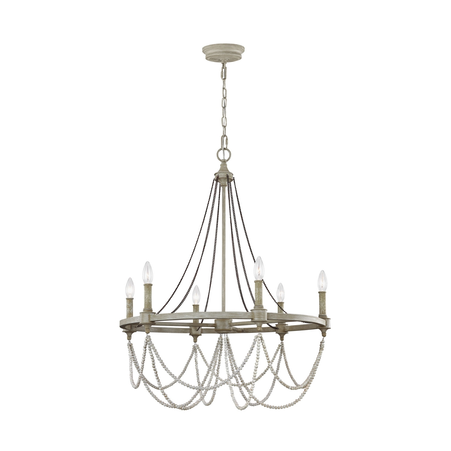 Well Known Feiss Beverly French Washed Oak And Distressed White Wood Six Light With Regard To White Chandelier (View 5 of 15)