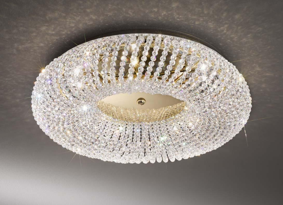 Well Known Flush Chandelier Ceiling Lights Within Kolarz Carla Gold 3 Light Crystal Flush Ceiling Light (View 6 of 15)