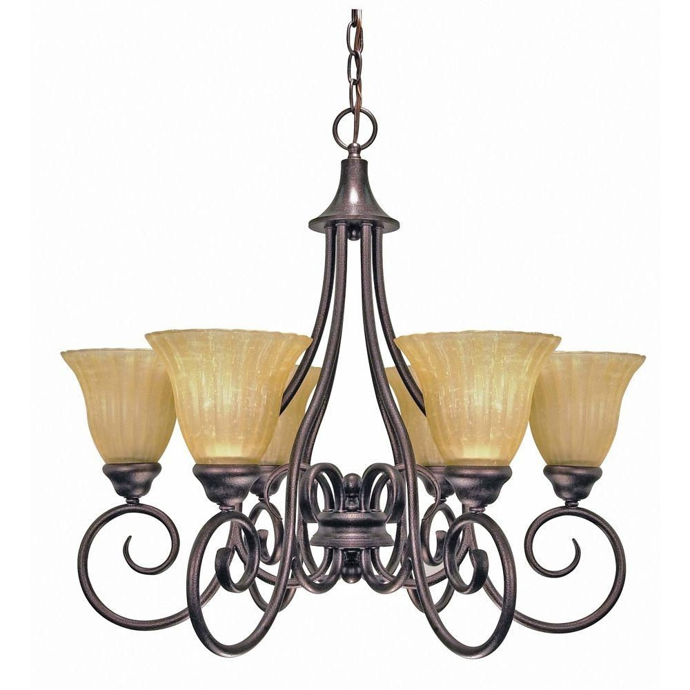 Well Known Glomar 6 Light Copper Bronze Chandelier With Champagne Linen Washed Inside Linen Chandeliers (View 8 of 15)