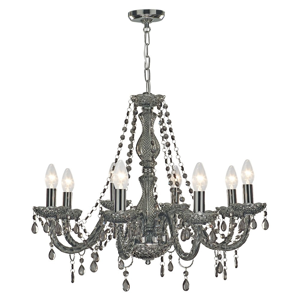 Well Known Grey Chandeliers Regarding 213 Searchlight 8698 8Gy Marie Therese 8 Light Chandelier Smoked (View 8 of 15)