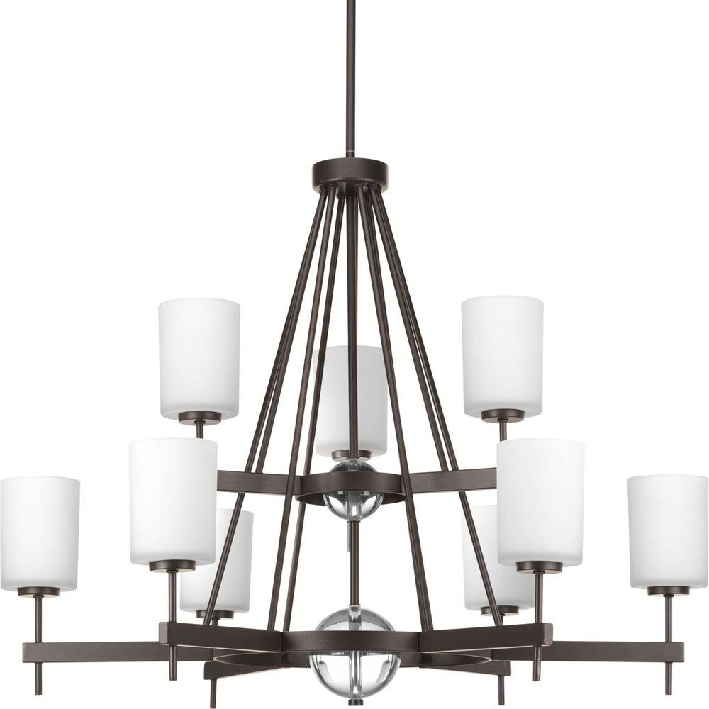Well Known Hampton Bay Freemont Collection 9 Light Hanging Antique Bronze Pertaining To Large Bronze Chandelier (View 14 of 15)