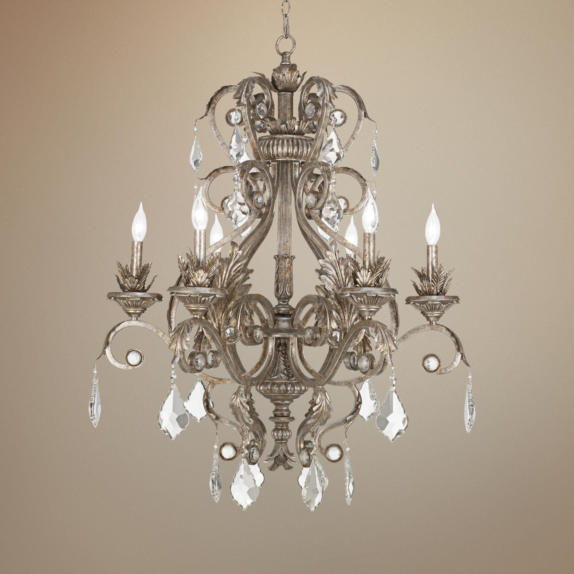 """Well Known Kathy Ireland 30"""" Wide Metallic Silver Chandelier (View 7 of 15)"""