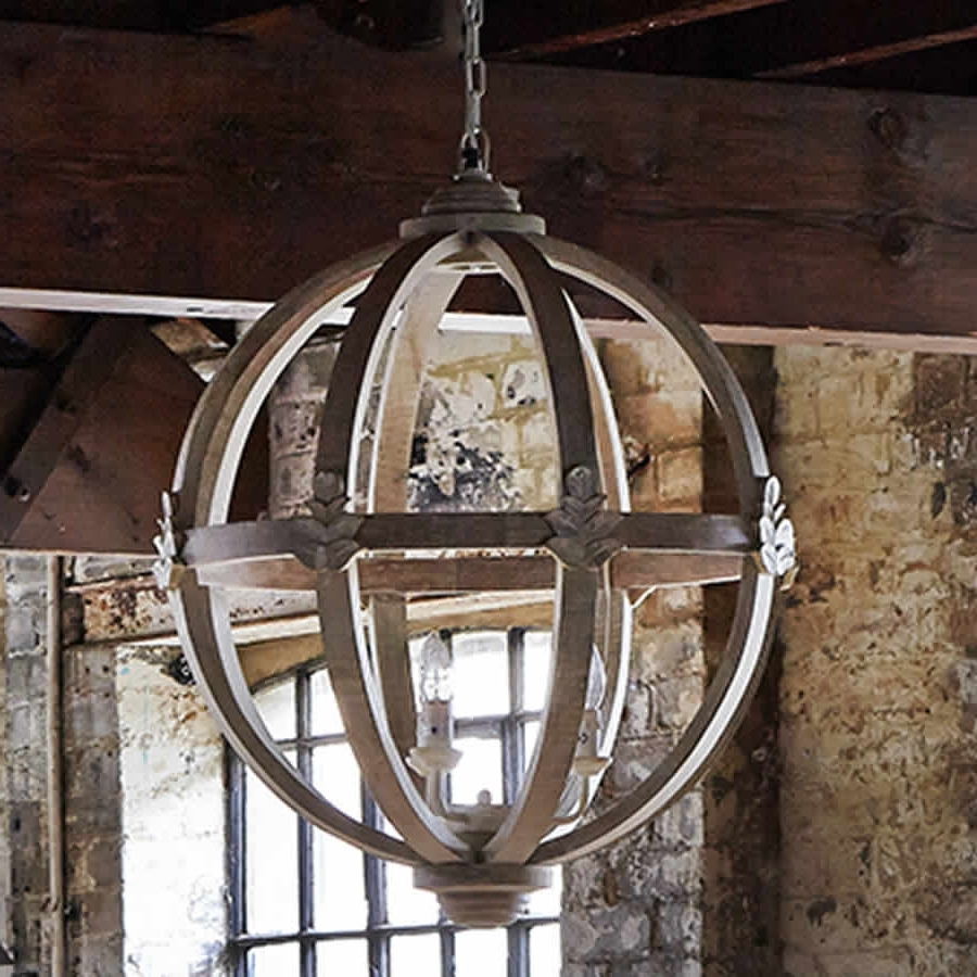 Well Known Large Globe Chandelier For Lighting: Large Round Wooden Orb Chandelier With Globe Chandelier (View 9 of 15)