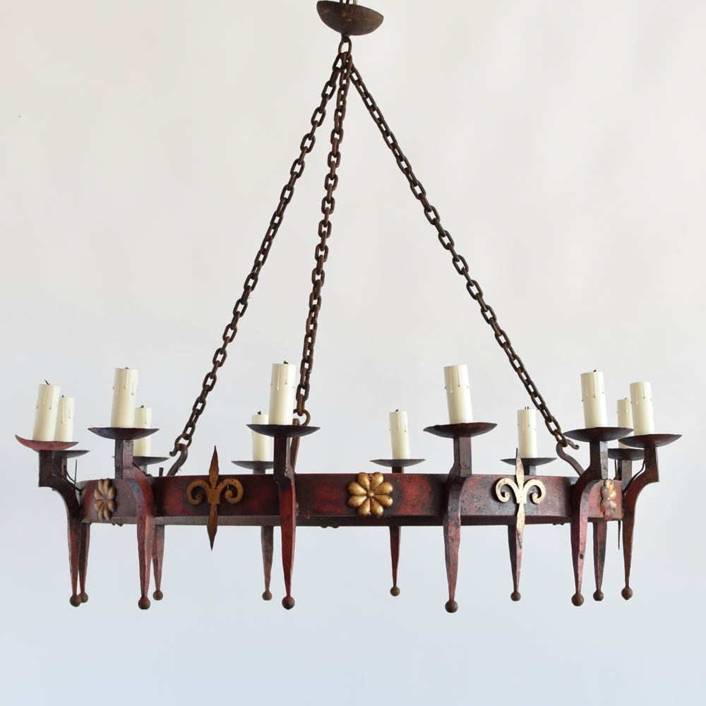 Well Known Large Iron Ring Chandelier W/fleur De Lis – The Big Chandelier Throughout Large Iron Chandelier (View 5 of 15)
