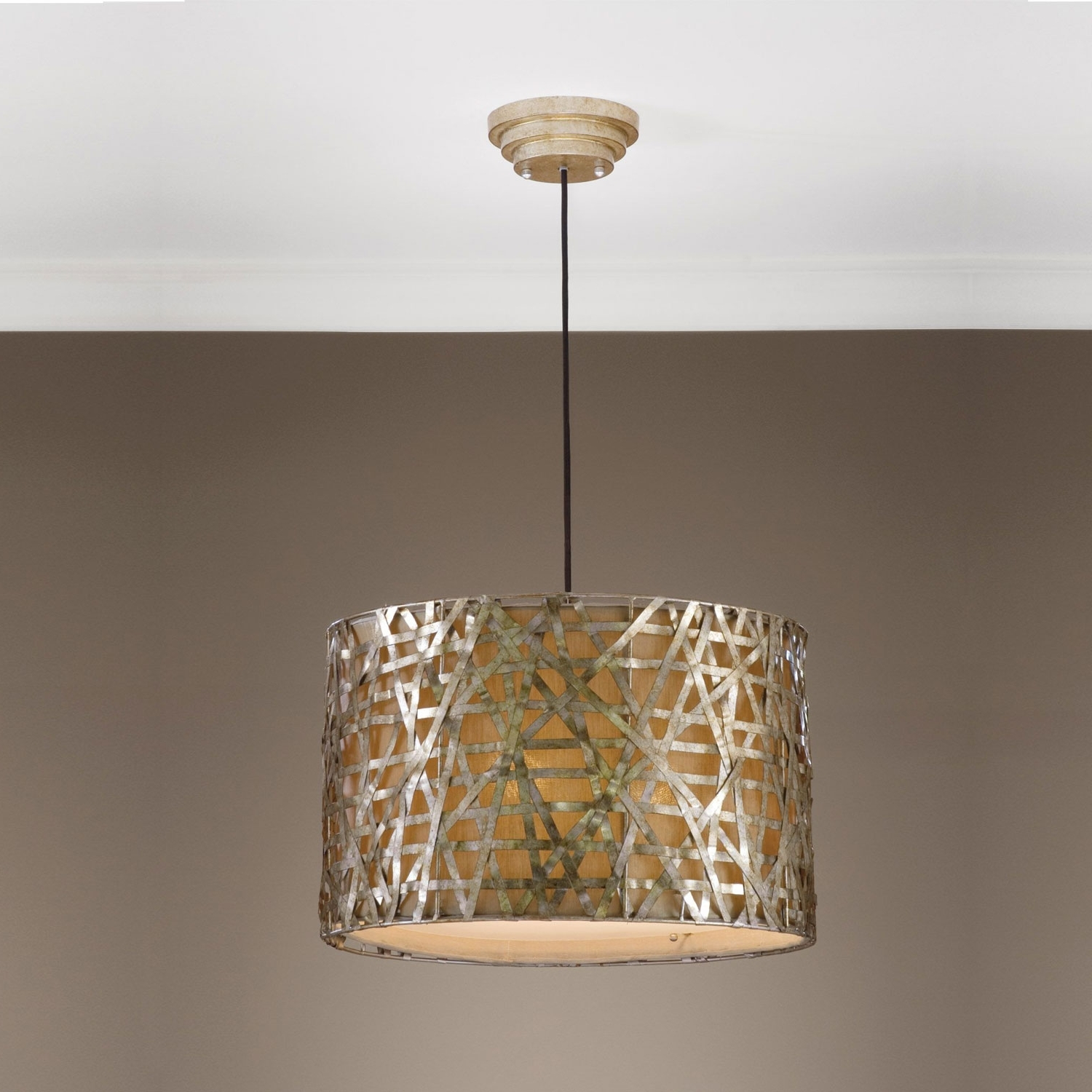 Well Known Light Fixture : Large Glass Pendant Lighting Semi Flush Mount Within Metal Drum Chandeliers (View 13 of 15)