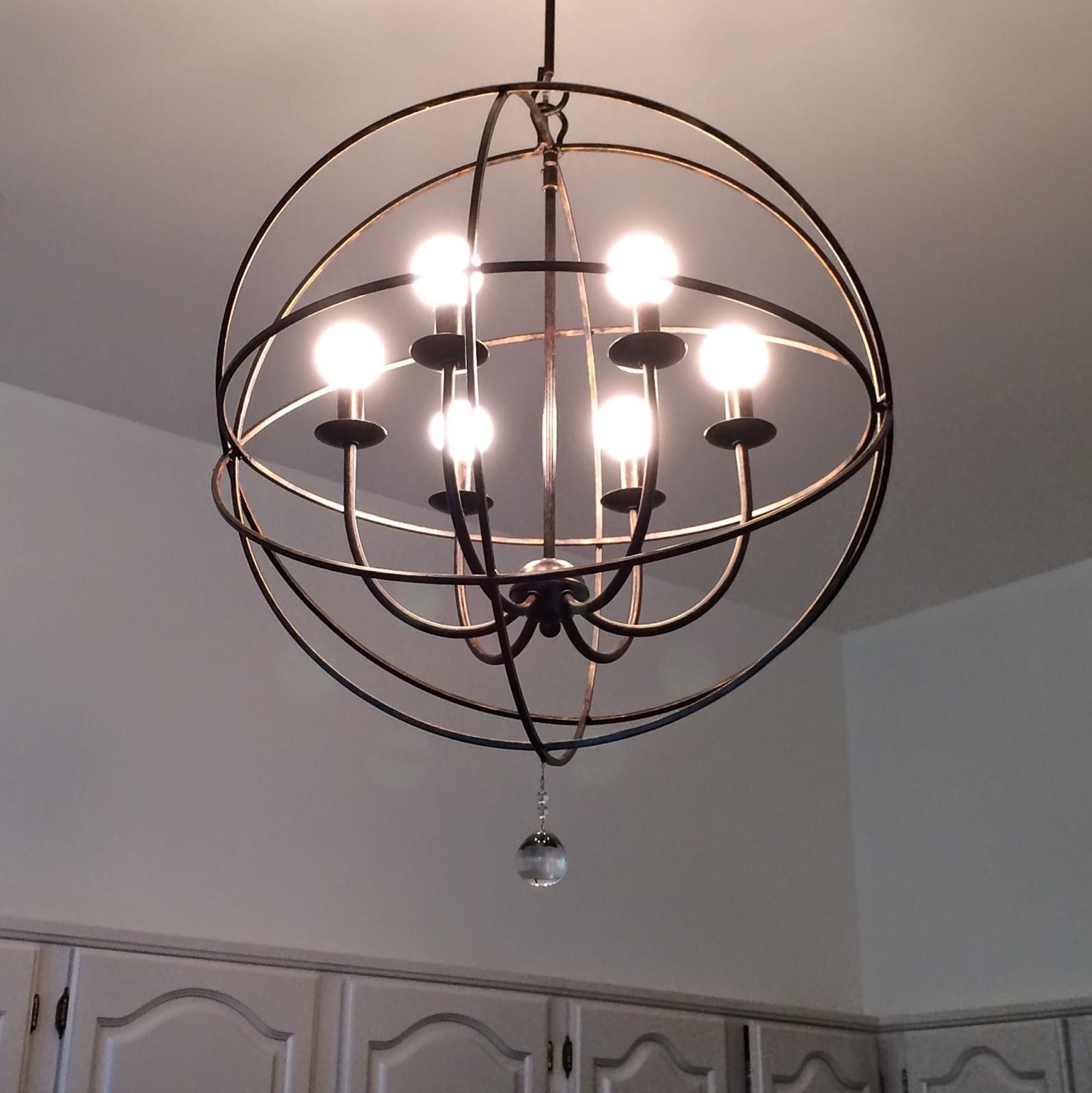 Well Known Lighting: Black Iron 6 Light Orb Chandelier For For Charming Kitchen With Orb Chandelier (View 12 of 15)