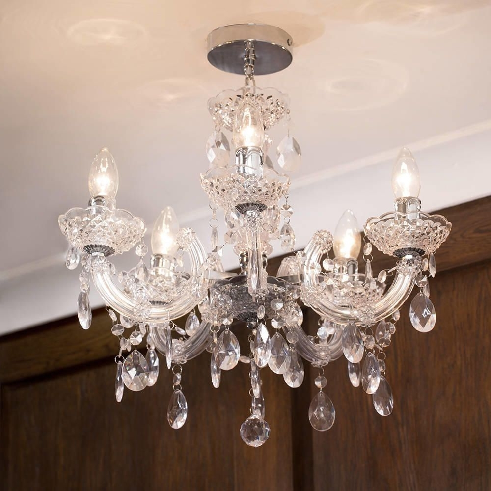 Well Known Marie Therese Chandelier 5 Light Dual Mount – Chrome From Litecraft With Short Chandelier (View 2 of 15)