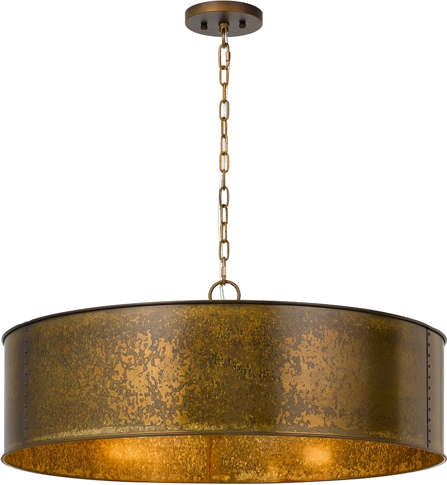 Well Known Metal Drum Chandeliers Regarding Cal Fx 3637 5 Rochefort Distress Gold Drum Pendant Light Fixture (View 12 of 15)