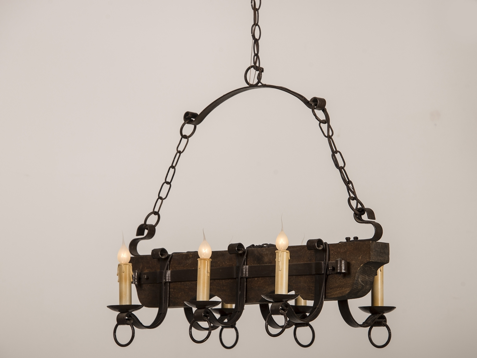 Well Known Old And Vintage Wood And Black Iron Chandelier With Candle Holder Intended For Vintage Wrought Iron Chandelier (View 13 of 15)
