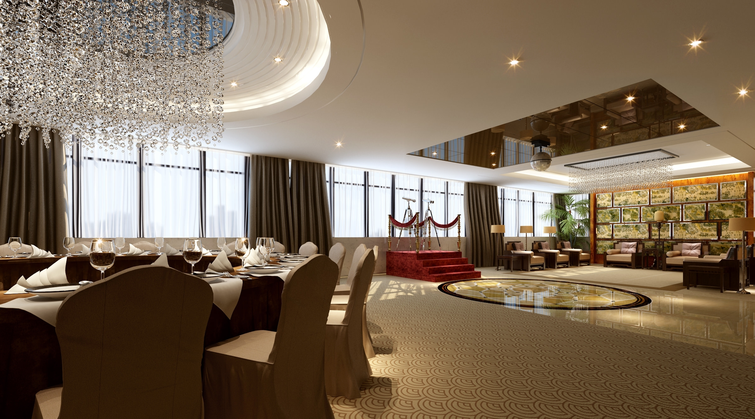 Well Known Restaurant Chandeliers Throughout High End Restaurant With Classy Chandeliers 3D Model Max (View 15 of 15)
