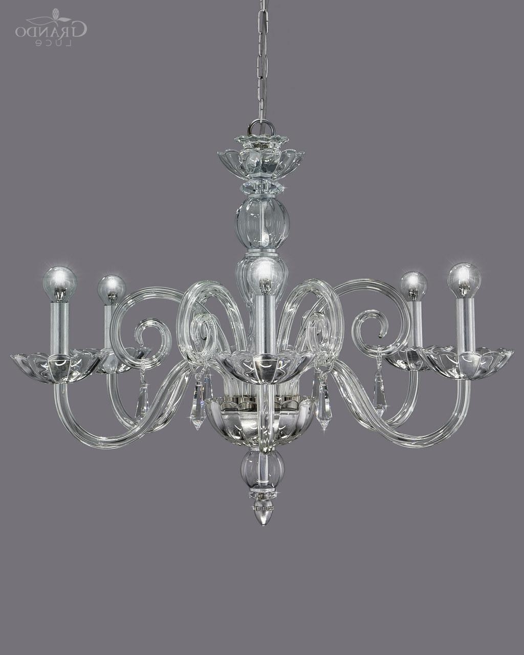Well Known Silver Chandeliers With Regard To 122/ch 6 Silver Leaf Crystal Chandelier With Swarovski Spectra (View 11 of 15)