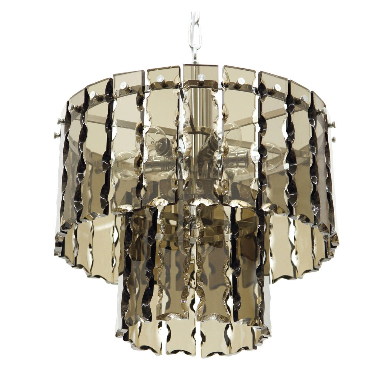 Well Known Smoked Glass Chandelier Pertaining To Fontana Arte Style Two Tier Smoke Glass Chandelier For Sale At 1Stdibs (View 2 of 15)