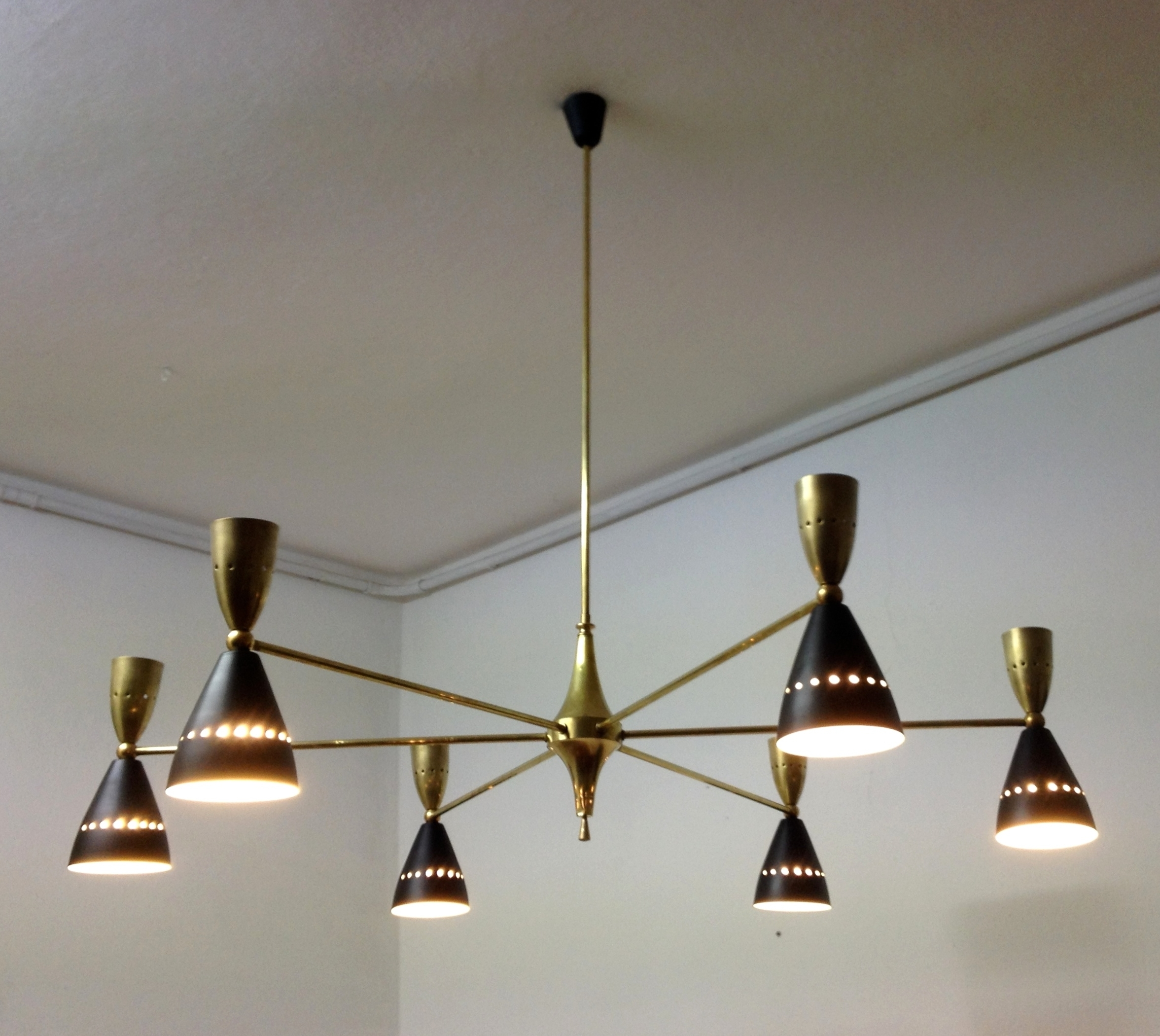Well Known Stylish Large And Authentic Double Coned Italian Mid Century Inside Large Brass Chandelier (View 13 of 15)